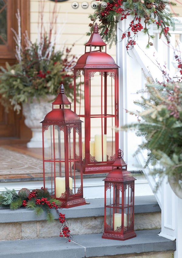 Set Of 3 Extra Tall Red Candle Lanterns 20 28 37 Inch
