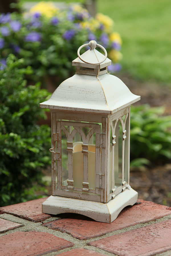 battery operated 12 inch antique ivory candle lantern 6 hour timer - Outdoor Candle Lanterns