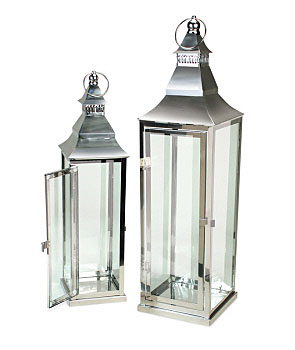 set of 2 traditional stainless steel and glass lanterns 195 and 26 inch