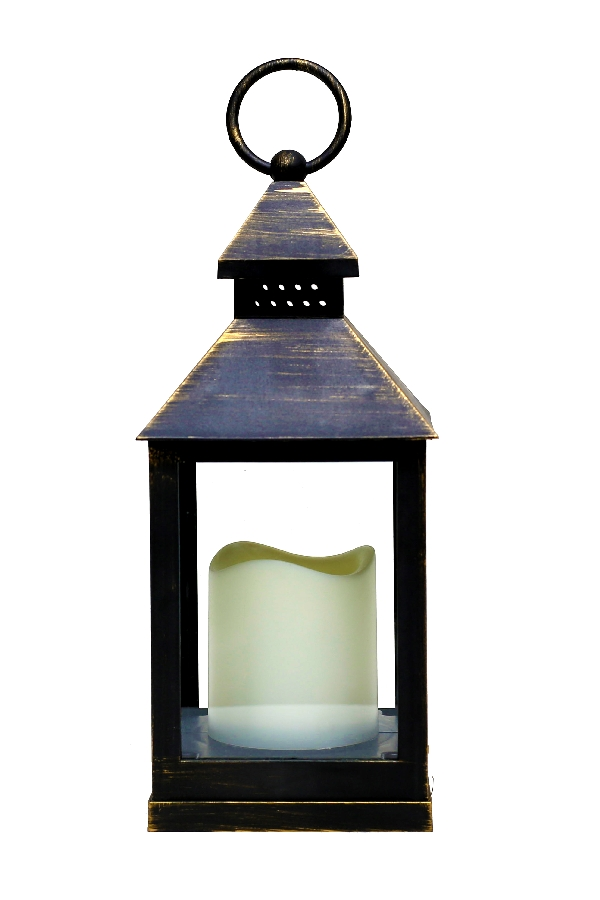 Battery Operated Antique Bronze Candle Lantern 9 5 Inch