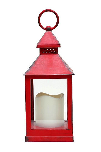Battery Operated Brushed Bright Red Candle Lantern 9 5