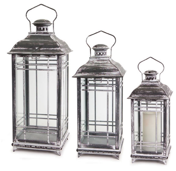set of 3 mission style white and graphite grey candle lanterns 14 17 20 inch buy now. Black Bedroom Furniture Sets. Home Design Ideas