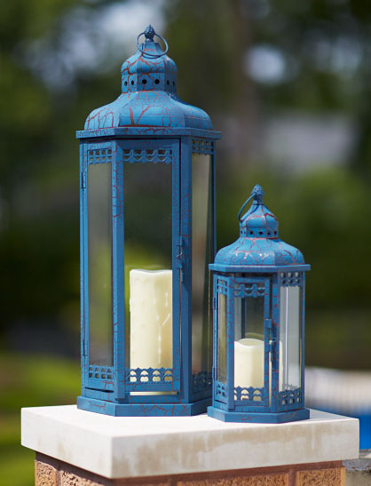 set of 2 blue candle lanterns iron and glass 14 and 25 inch