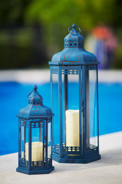 Set Of 2 Blue Candle Lanterns Iron And Glass 14 And 25