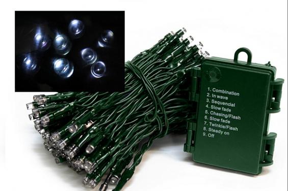 - Battery Operated 96 White LED Light Set - 6H Timer Multi Function