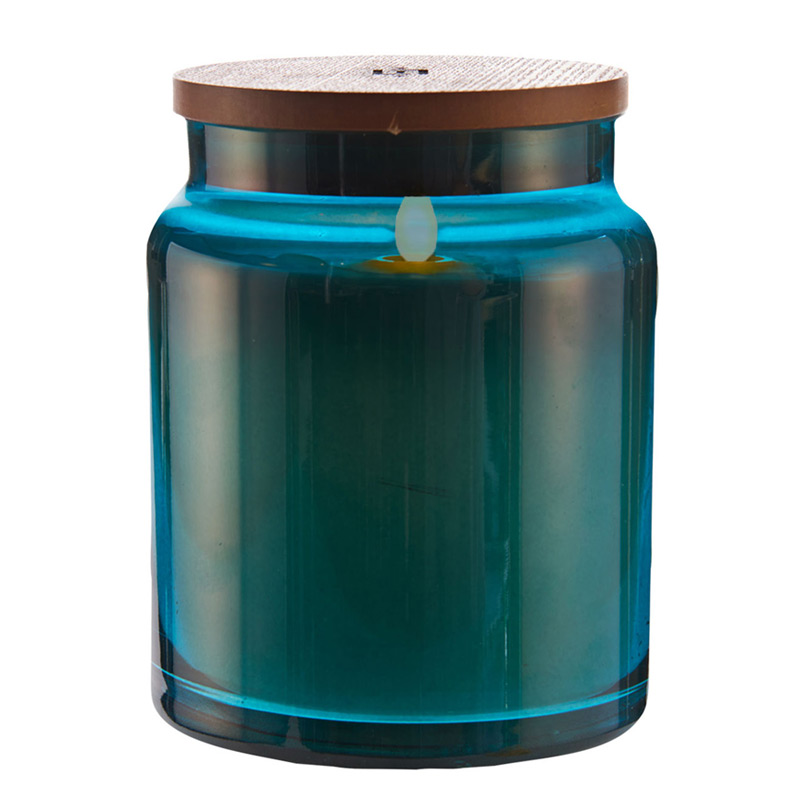 Lightli Moving Flame Blue Glass Jar Candle 4 X 5 5 Inch