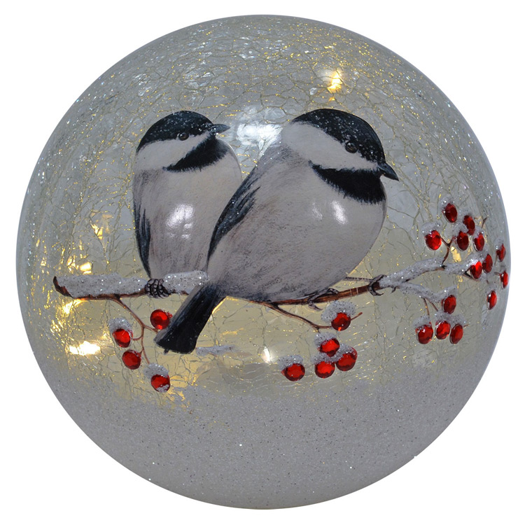 Battery Operated Lighted Crackle Glass Globe With