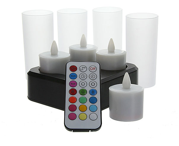 Set Of 4 Remote Control Rechargeable Tea Lights