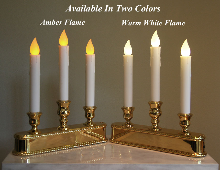christmas window candle 3 tier amber led brass finish auto sensor - Led Christmas Window Candles