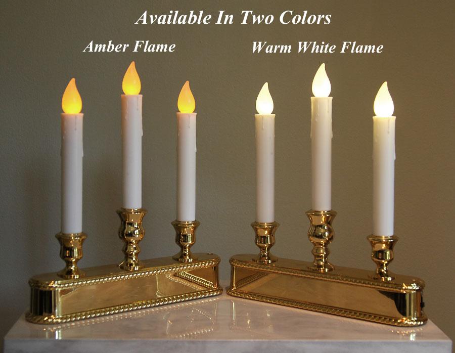 christmas window candle 3 tier amber led brass finish auto sensor
