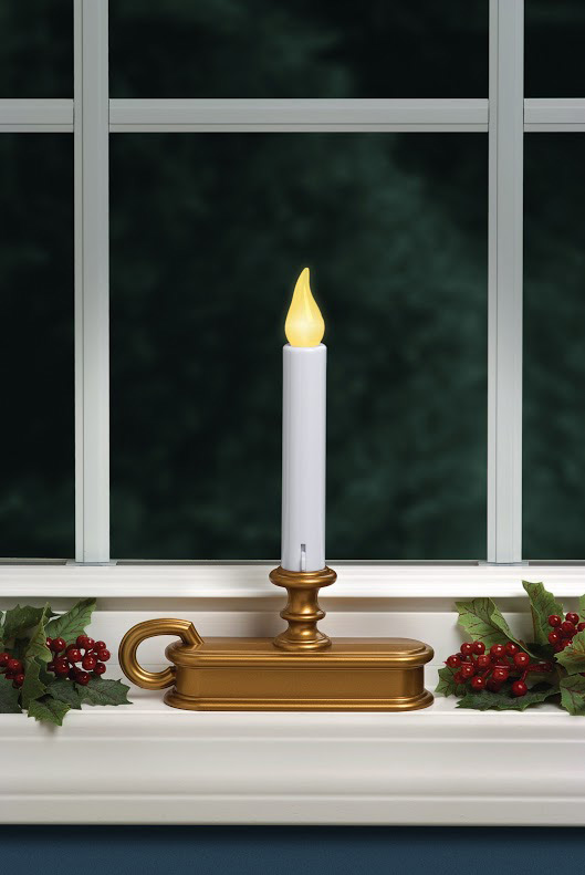 Traditional Battery Powered Window Candle Antique Gold