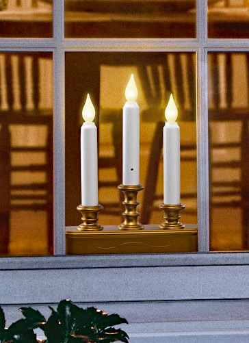 Three Tier Battery Window Candle Antique Gold Dual Mode