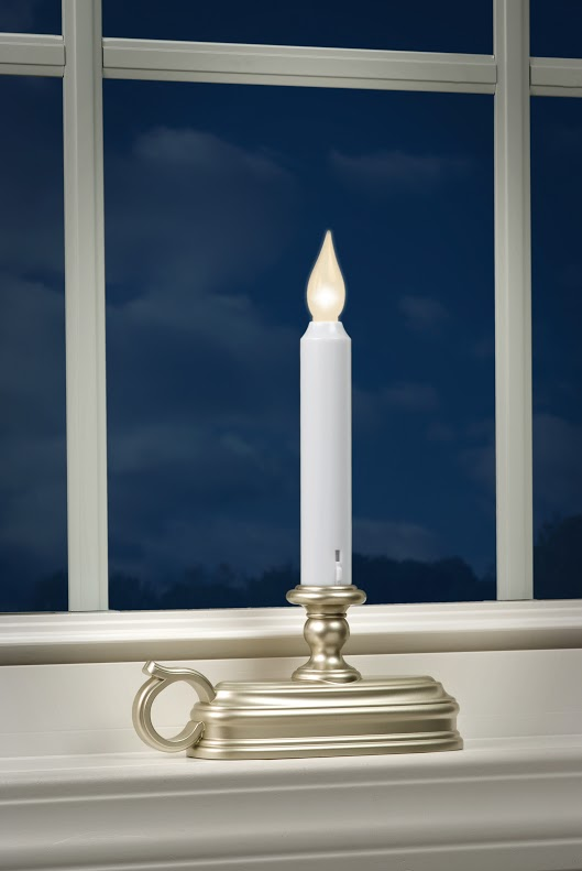 Warm White Pewter Traditional Battery Window Candle