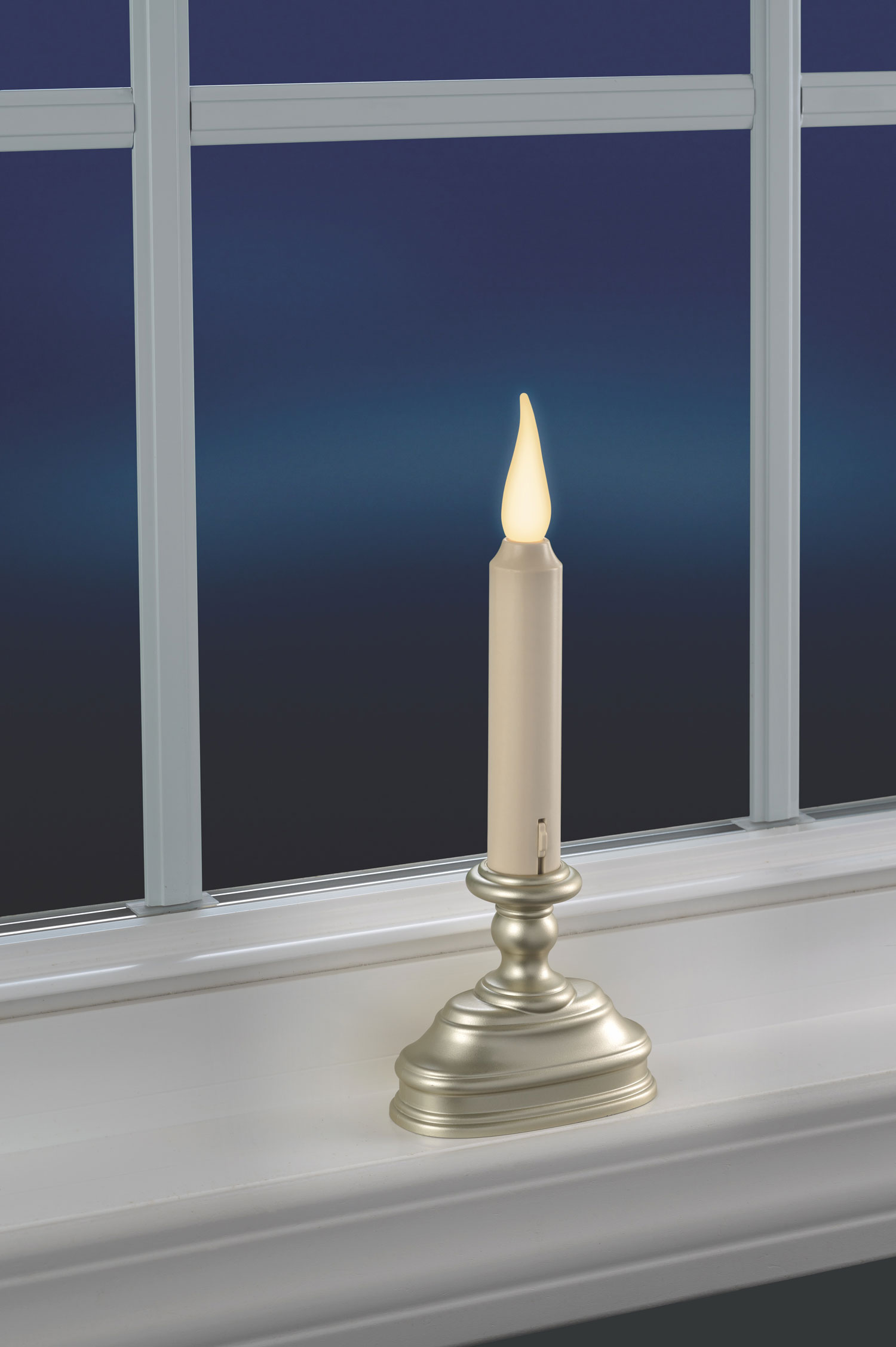 3d Flame Christmas Window Candle With Timer Pewter Finish