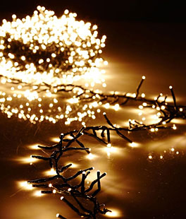 christmas cluster lights with 300 warm white led 10 foot green wire remote control