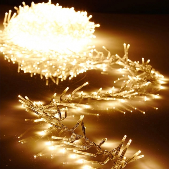 196 foot christmas cluster lights with 600 warm white led garland clear wire remote control
