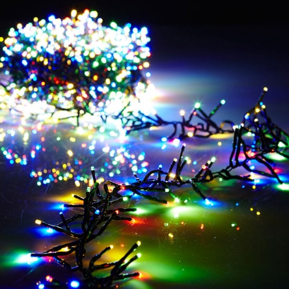 44 foot christmas cluster lights with 1300 multi color led garland green wire remote control