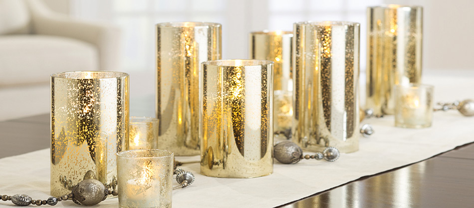 Moving Flame 6 Inch Gold Mercury Glass Flameless Cylinder Candle ...