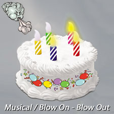 Battery Operated Musical Birthday Cake with Blow On Blow Out