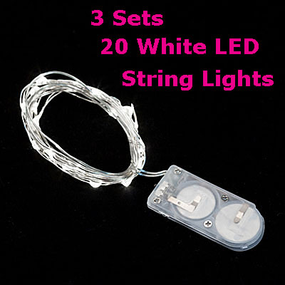20 String Mini Lights : 3 PACK - 20 White LED Battery Mini Lights on Flexible Wire - Submersible - Buy Now