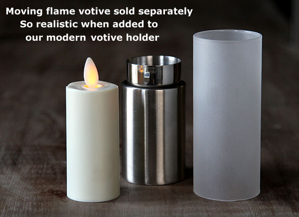 Stainless And Frosted Glass Tealight And Votive Holder 7