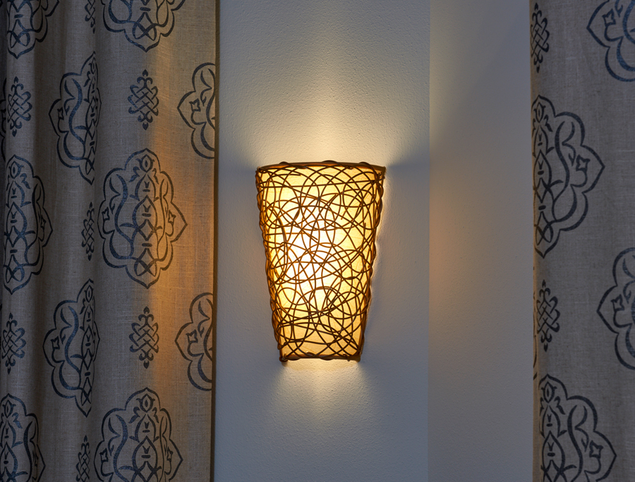 Nice Battery Powered Wicker Wall Sconce With White Light Or Amber Flicker