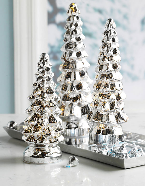 Light Up Mercury Glass Trees Set Of 3