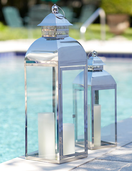 Set Of 2 Stainless Steel And Glass Lanterns 18 Inch And