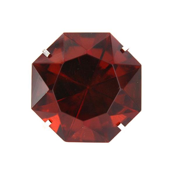 Giant Amber Glass Diamond Ring W Silver Band Napkin