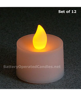 5b1360daf Tall Flameless Tea Lights Amber LED Battery Operated Set - 12