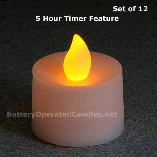 flameless tea lights amber led battery operated 12 pack 5 hour timer. Black Bedroom Furniture Sets. Home Design Ideas