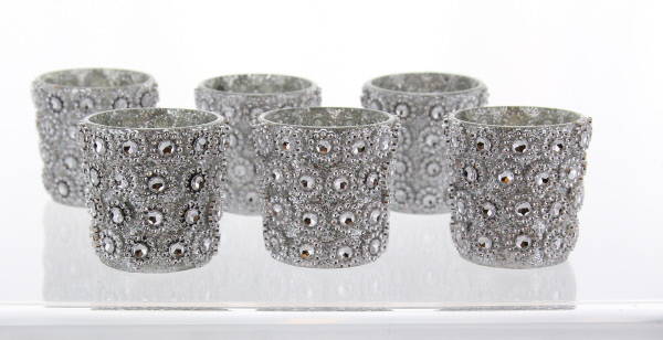 silver glitter and rhinestone votive holder 25 inches set of 6