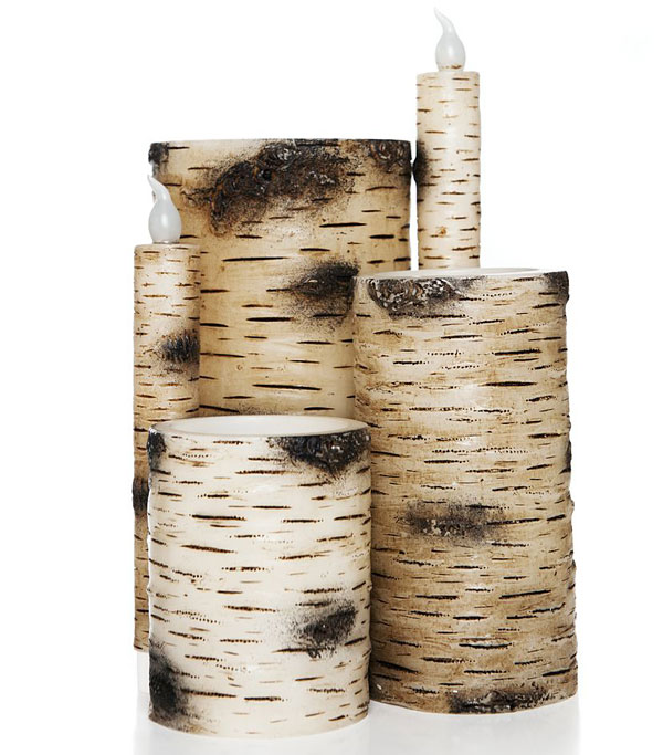 flameless birch bark taper candle 10 inch