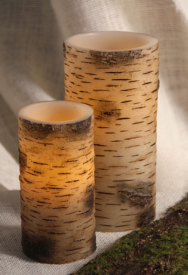 Unscented Birch Bark LED Battery Operated 3 x 6 Candle