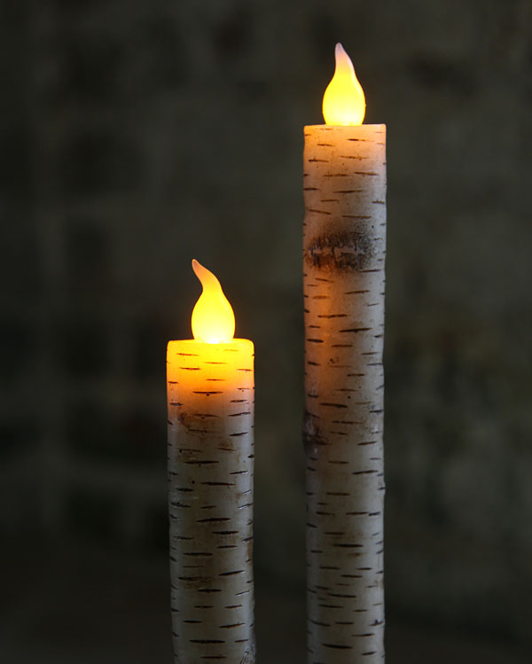 Flameless Birch Bark Taper Candle 10 Inch Buy Now