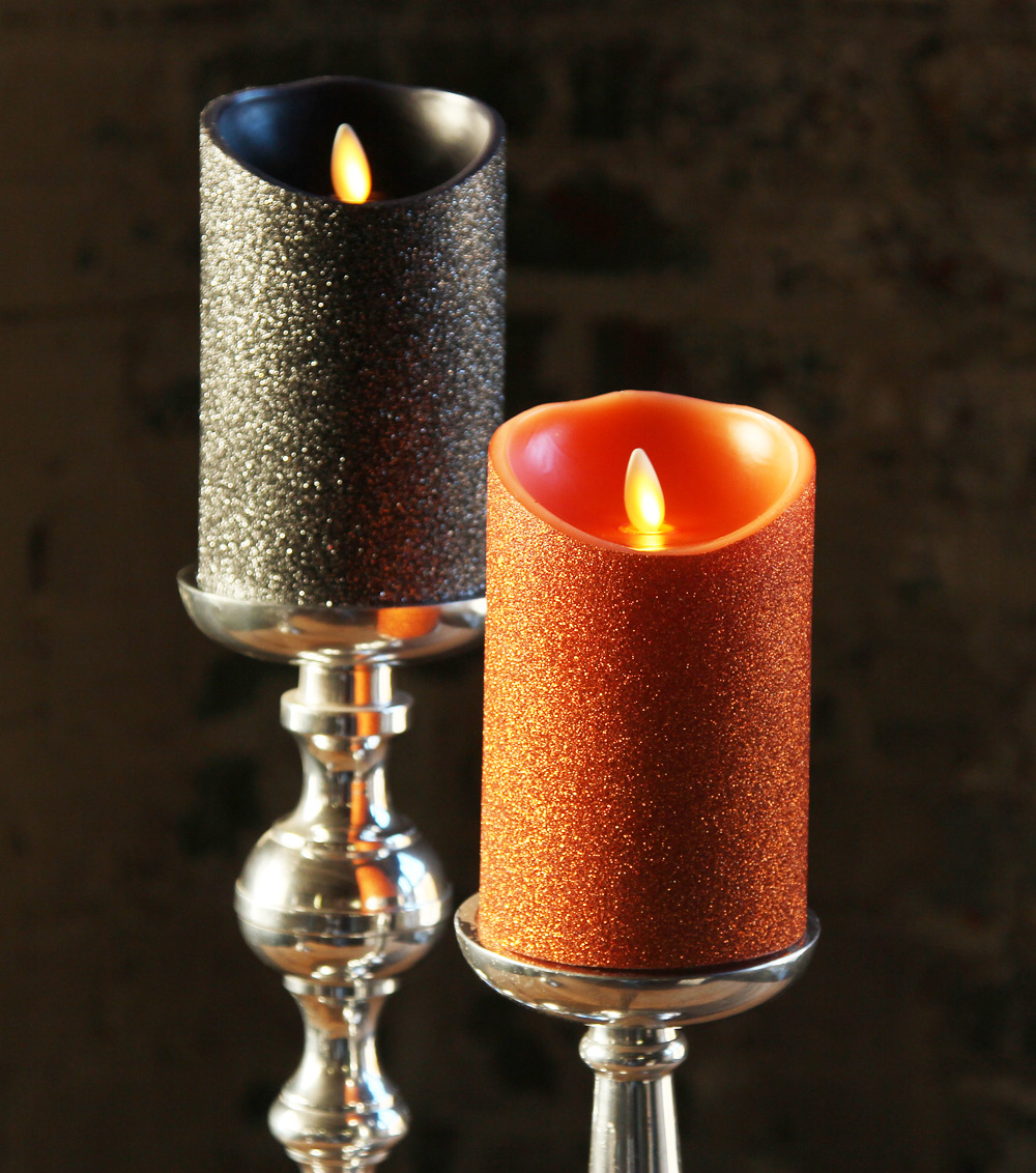 moving flame orange glitter candle battery operated 35 x 5 timer remote ready - Flameless Candles With Timer