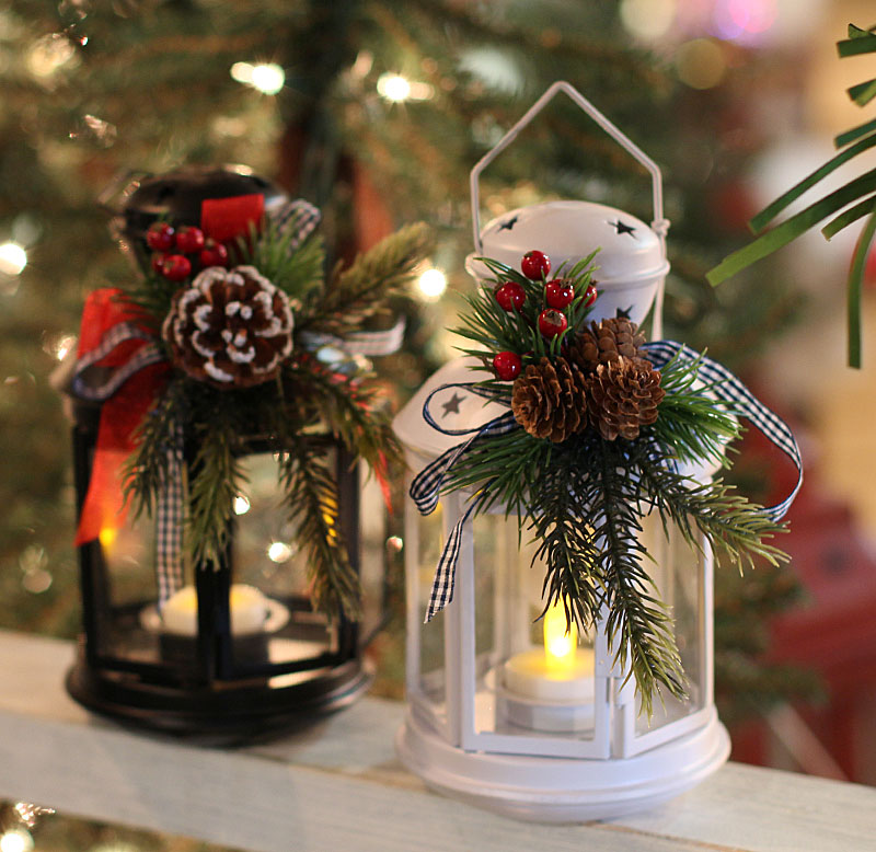 Inch black metal christmas lantern with holiday decor