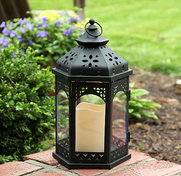 Outdoor Battery Operated Flameless Gazebo Candle Lantern 13 Inch Timer Bu