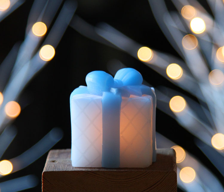 Flameless Mini Square Wax Gift Boxes With Blue Bows Set Of