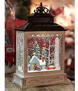 LED Christmas Swirling Water Filled Lantern Xmas Glitter Spinner LED Santa Light