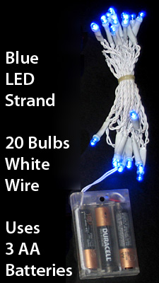 20 Bulb Blue LED Mini Lights - White Wire 8 Foot Long - Buy Now