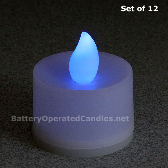 Tall Flameless Tea Lights Blue Led Battery Operated Set 12