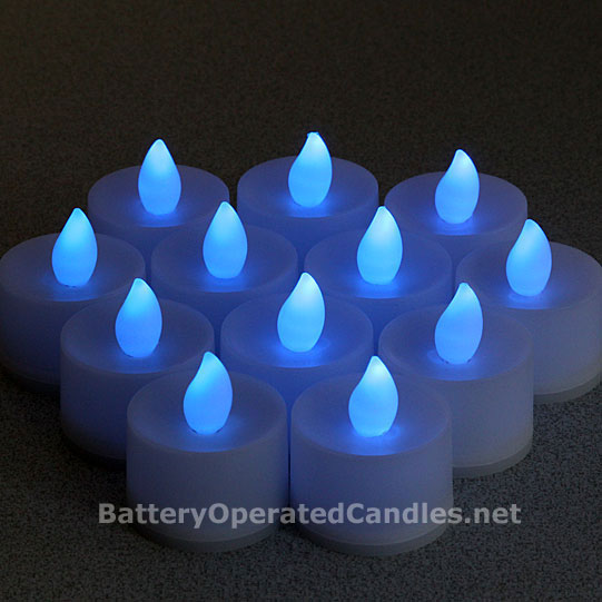 Tall Flameless Tea Lights Blue Led Battery Operated Set