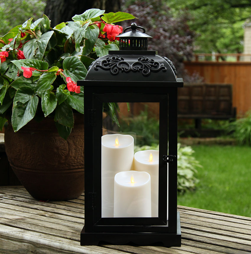 Large 21 Inch Luminara Lantern With 3 Moving Flame Pillars