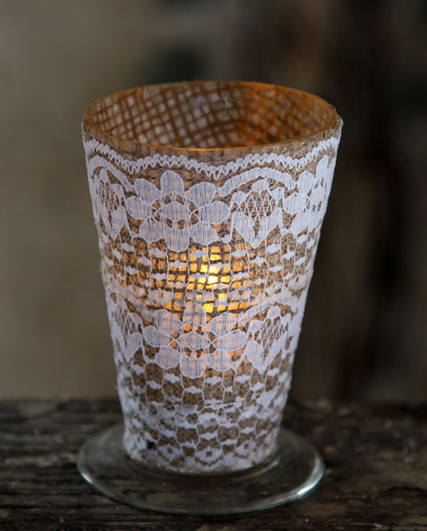 Burlap And Lace Votive Holder 4 75 Inch Buy Now