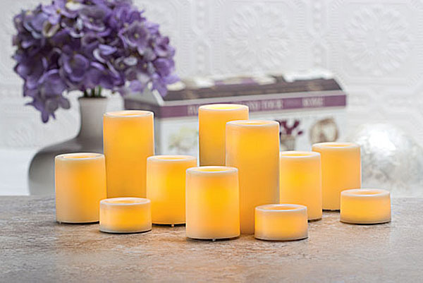 9 Pack 75 Inch Round Cream Candle Impressions Flameless