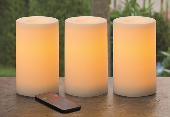 Outdoor Set Of 3 Candle Impressions White Remote Control