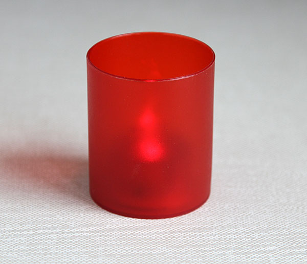 Flameless Red Frosted Votive Cup With Flickering Tealight