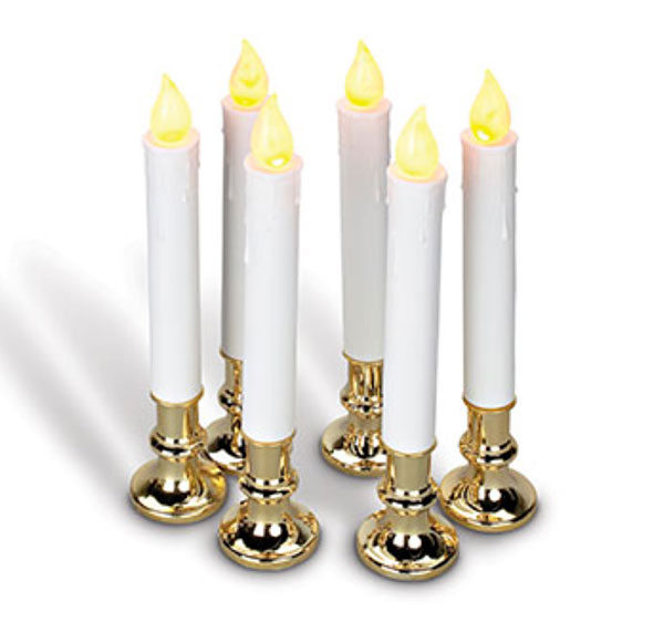 9 Inch Battery Operated Candolier Set of 6 With Gold Color Base ...