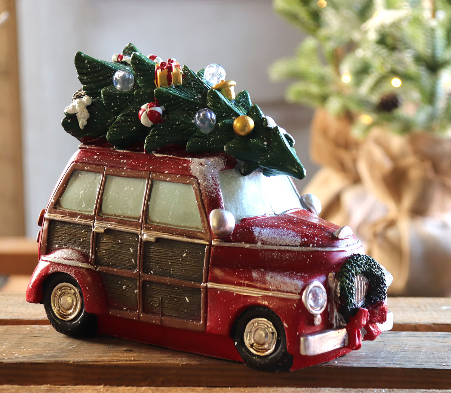 Set Of 3 Lighted Resin Holiday Truck Wagon And Trailer